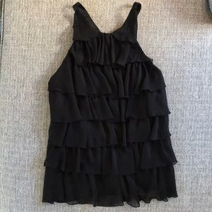 XOXO black ruffle open back top